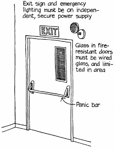15 Parts of an emergency exit door Exit sign and emergency lighting must be on independent secure power supply; Glass in fire-resistant door must be ...  sc 1 st  12345w.xyz & How to Control Fire: Protecting Human Lives